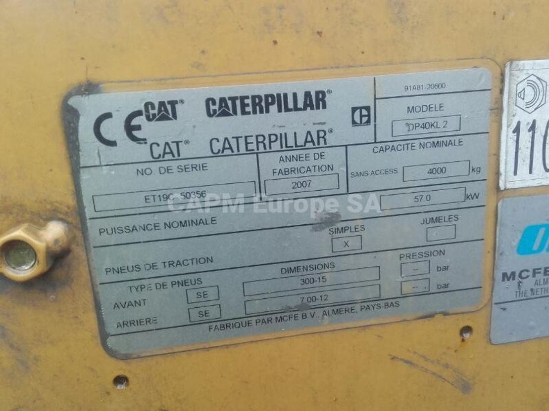 vorkheftruck Caterpillar DP40KL 2007