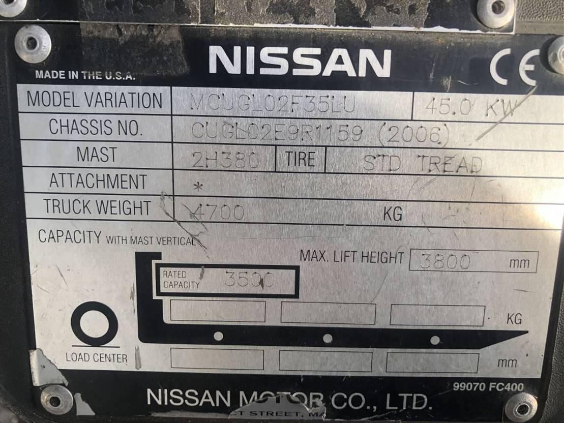 vorkheftruck Nissan 3.5 ton LPG Sideshift Heftruck 2006
