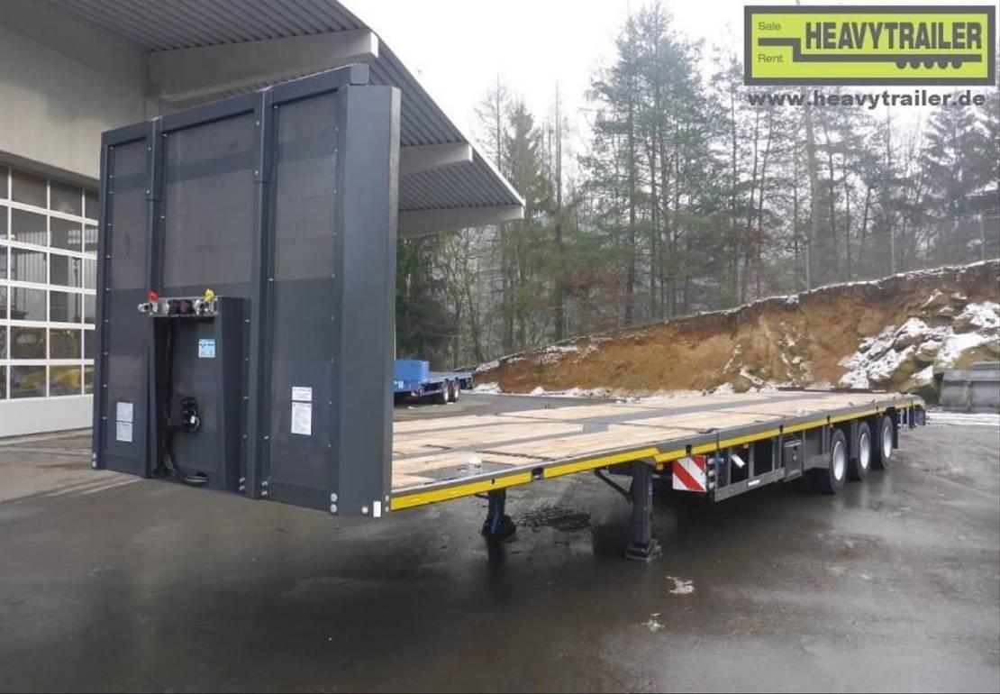 platte aanhanger vrachtwagen Meusburger 3-Achs-Mega-Tele-Plateau-Auflieger