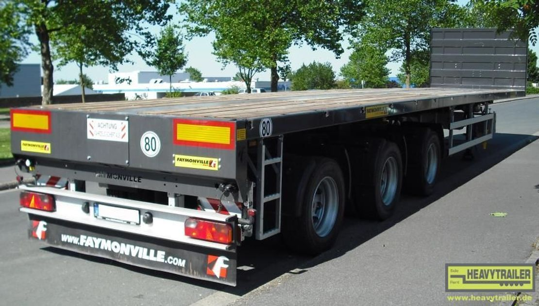platte aanhanger vrachtwagen Faymonville 3-Achs-Doppel-Tele-Plateau-Auflieger zwangsgelenkt