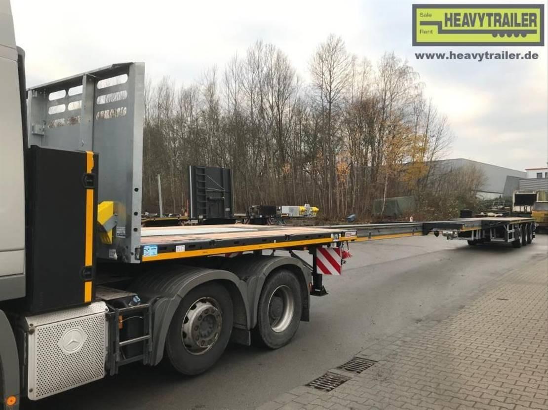 platte aanhanger vrachtwagen Faymonville Maxtrailer 3-Achs-Doppeltele Plateau zwangsgelenkt