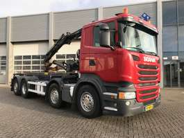 containersysteem vrachtwagen Scania R410 / 8x2 / Lift Axle / HIAB Crane / Container System 2014