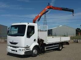 open laadbak vrachtwagen Renault MIDLUM 12.220 - 4x2 - 212.074 Km + PALFINGER KRAAN 2004