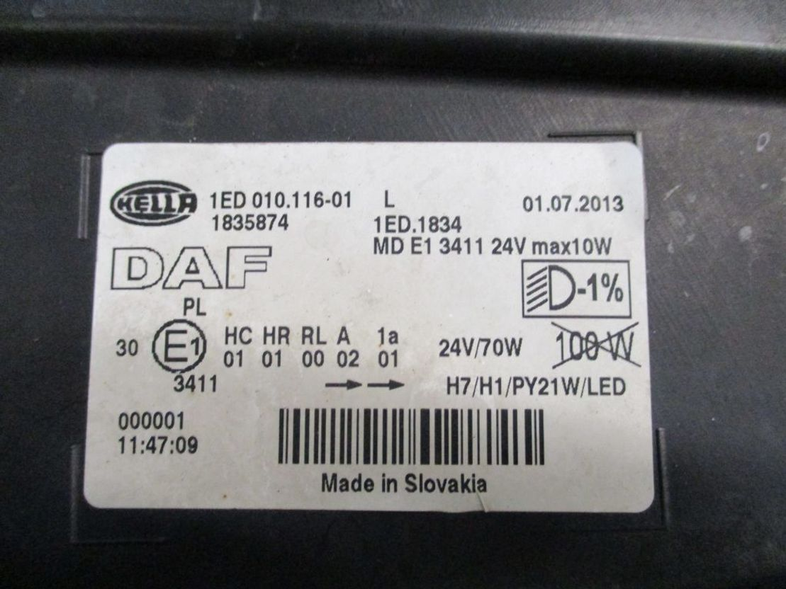 Koplamp vrachtwagen onderdeel DAF 1835874 Koplamp DAF XF 106 Links