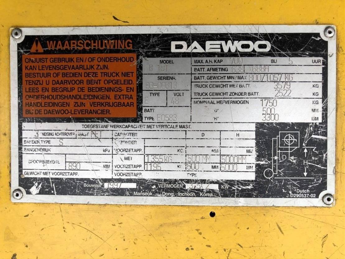 vorkheftruck Daewoo B18T 1.8 ton Elektra Sideshift Heftruck 1997