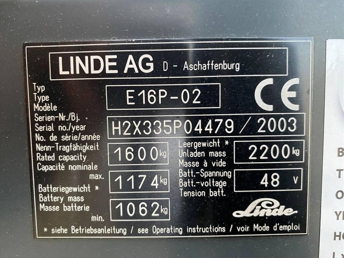 vorkheftruck Linde E16 1.6 ton Elektrische Sideshift Heftruck 2003