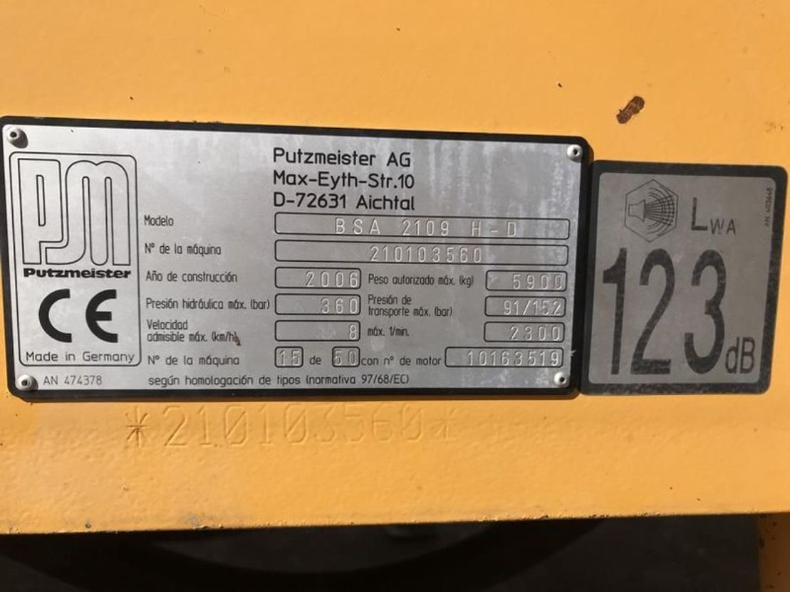 betonpomp vrachtwagen Putzmeister BSA 2109H D ** 907 HOURS ** 2006