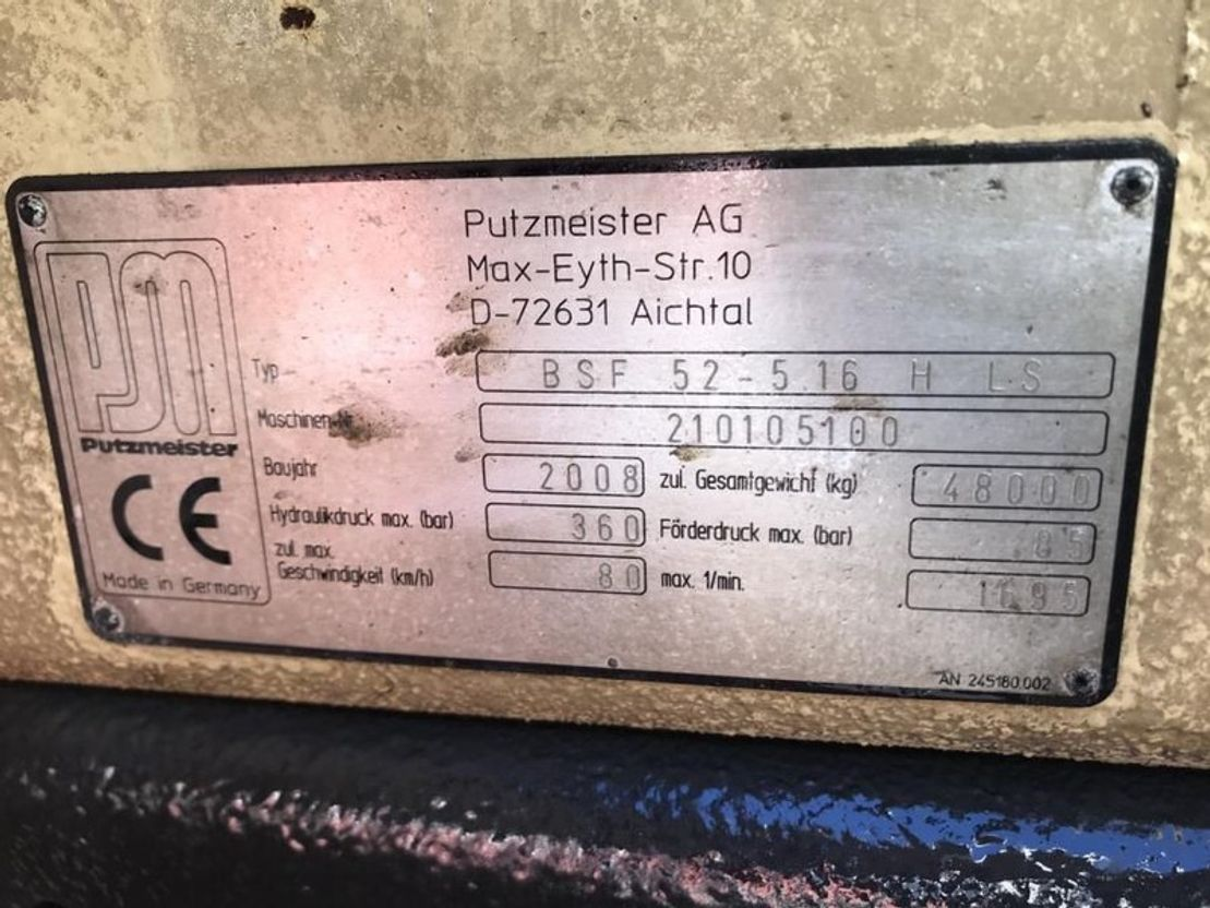 betonpomp vrachtwagen Mercedes-Benz Actros 5051 Bomba de hormigón Putzmeister 52-5 BSF 2009