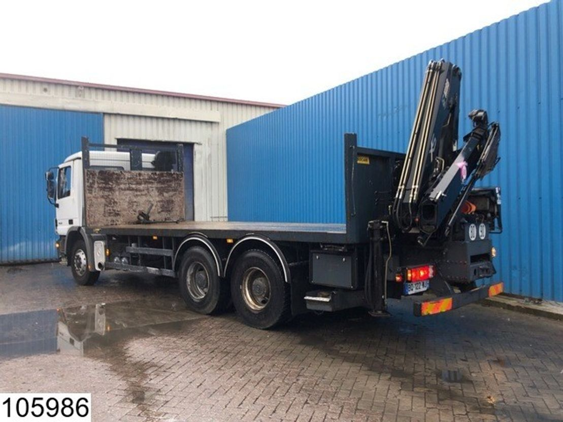 platform vrachtwagen Mercedes Benz Actros 2632 6x4, Hiab crane, EPS 16, 3 Pedals, Airco, Steel suspension, ... 2006