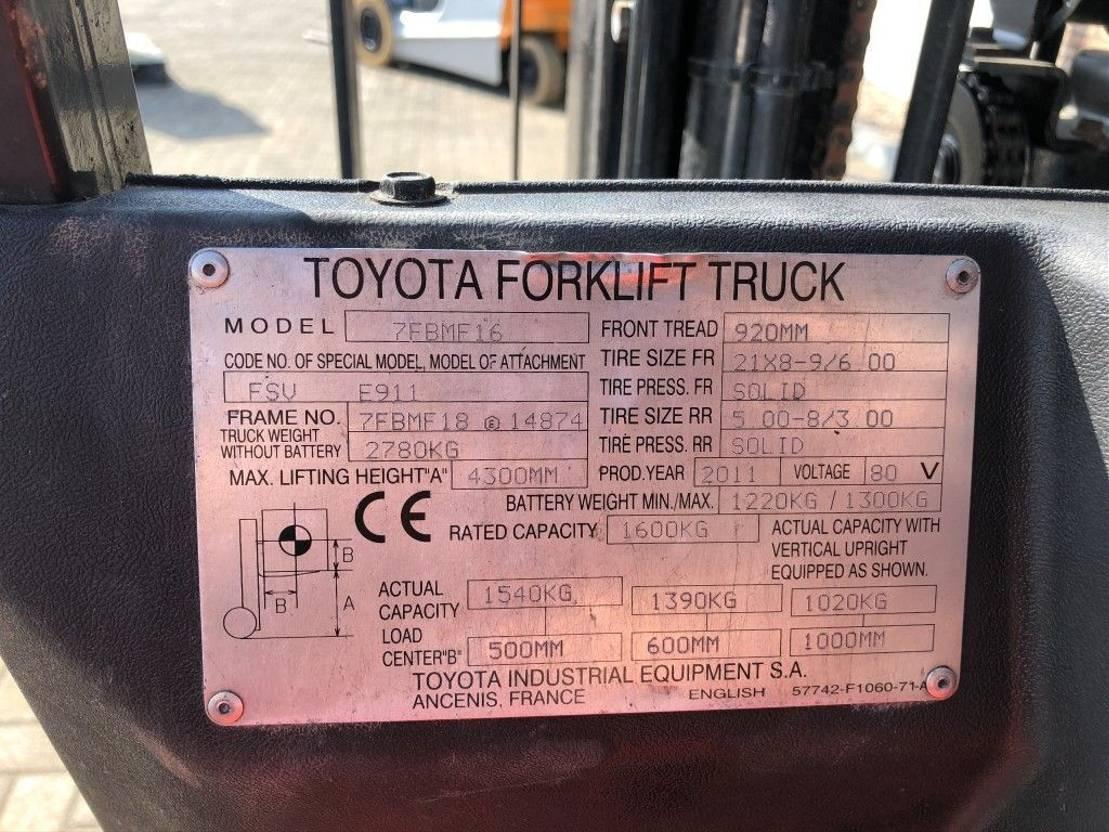 vorkheftruck Toyota 1.6 ton Triplo Free Lift Elektra met Sideshift Heftruck 2011
