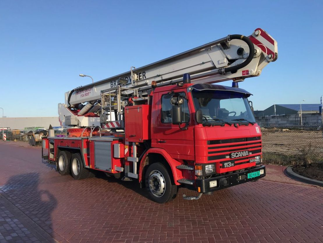 autohoogwerker vrachtwagen Scania 113 H 320 BRONTO F 24 HDT 1996