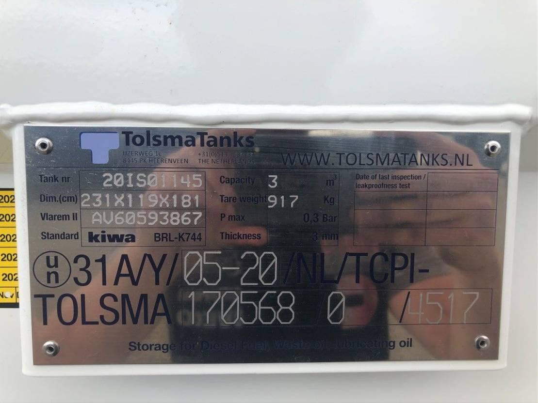 IBC-intermediate bulk container Tolsma Kiwa IBC 3000 liter dieseltank nieuw ! 2020