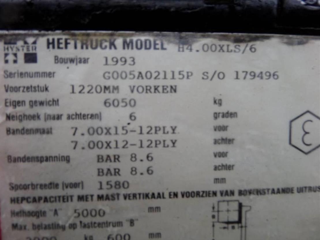 vorkheftruck Hyster H4.00XLS/6 1993