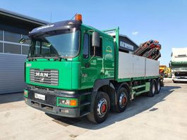 kraanwagen MAN 35.414 8X4 stake body + crane PALFINGER PK 54000 E + JIB + REMOTE