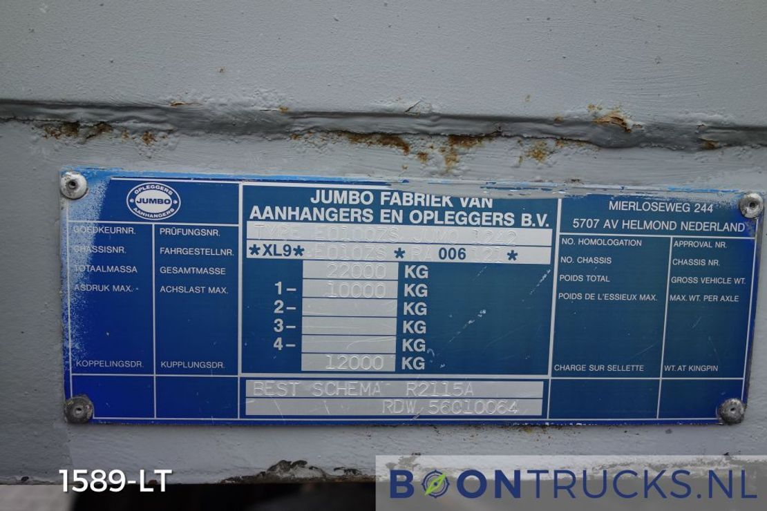semi dieplader oplegger Jumbo EO 100 ZS | SEMI DIEPLADER * ALU BORDEN * STUURAS * APK 07-2021 1995