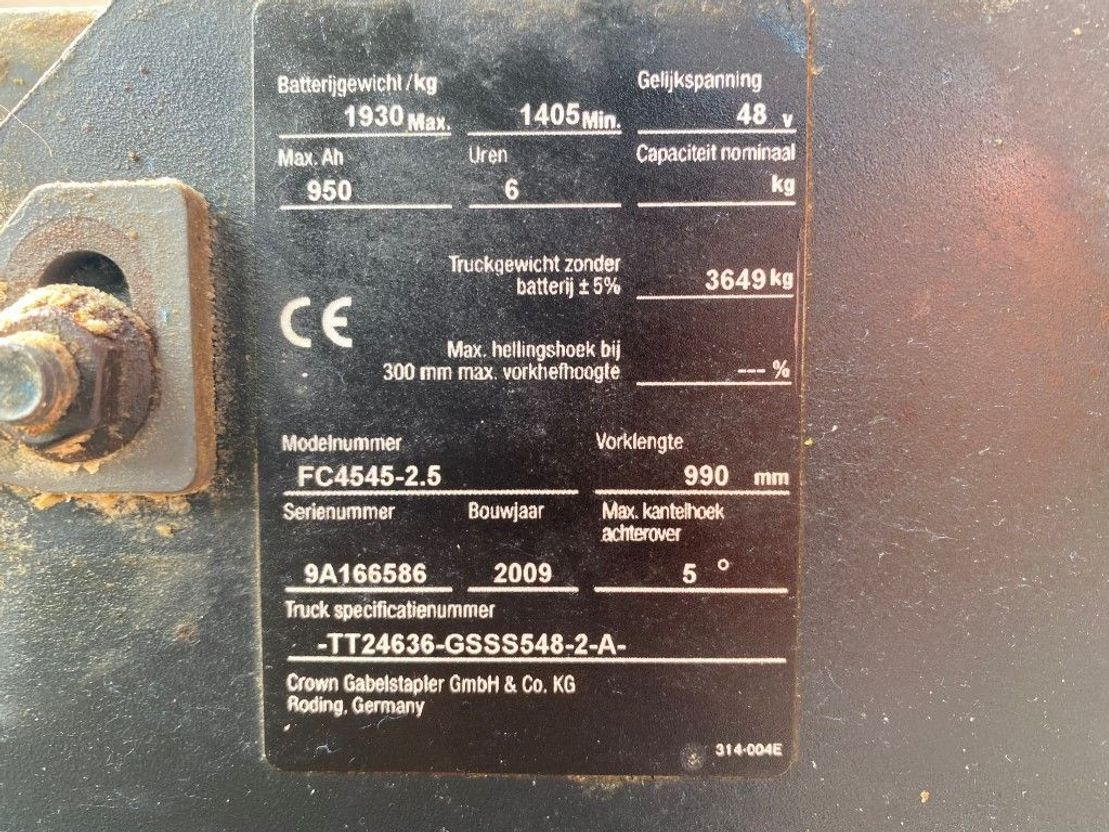 vorkheftruck Crown FC4545-2.5 2.5 ton Triplo Freelift Sideshift Elektra Heftruck 2009