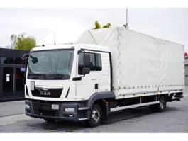 huifzeil vrachtwagen MAN TGL 12.220 , E6 , 4X2 , sleep cab , 18 epal , tail lift Dholland 2016