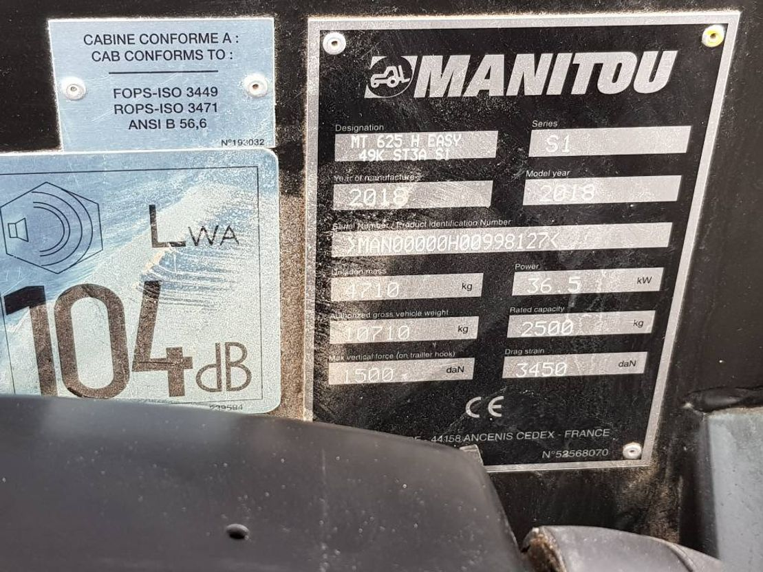 starre verreiker Manitou MT 625 2018