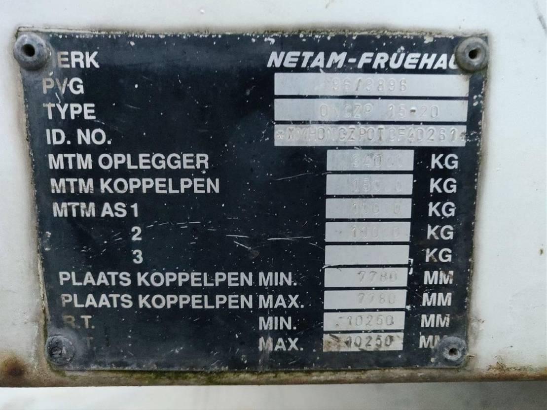 semi dieplader oplegger Netam-Fruehauf ONCZP 15-20   Semi 2 axle   Alu box 1996