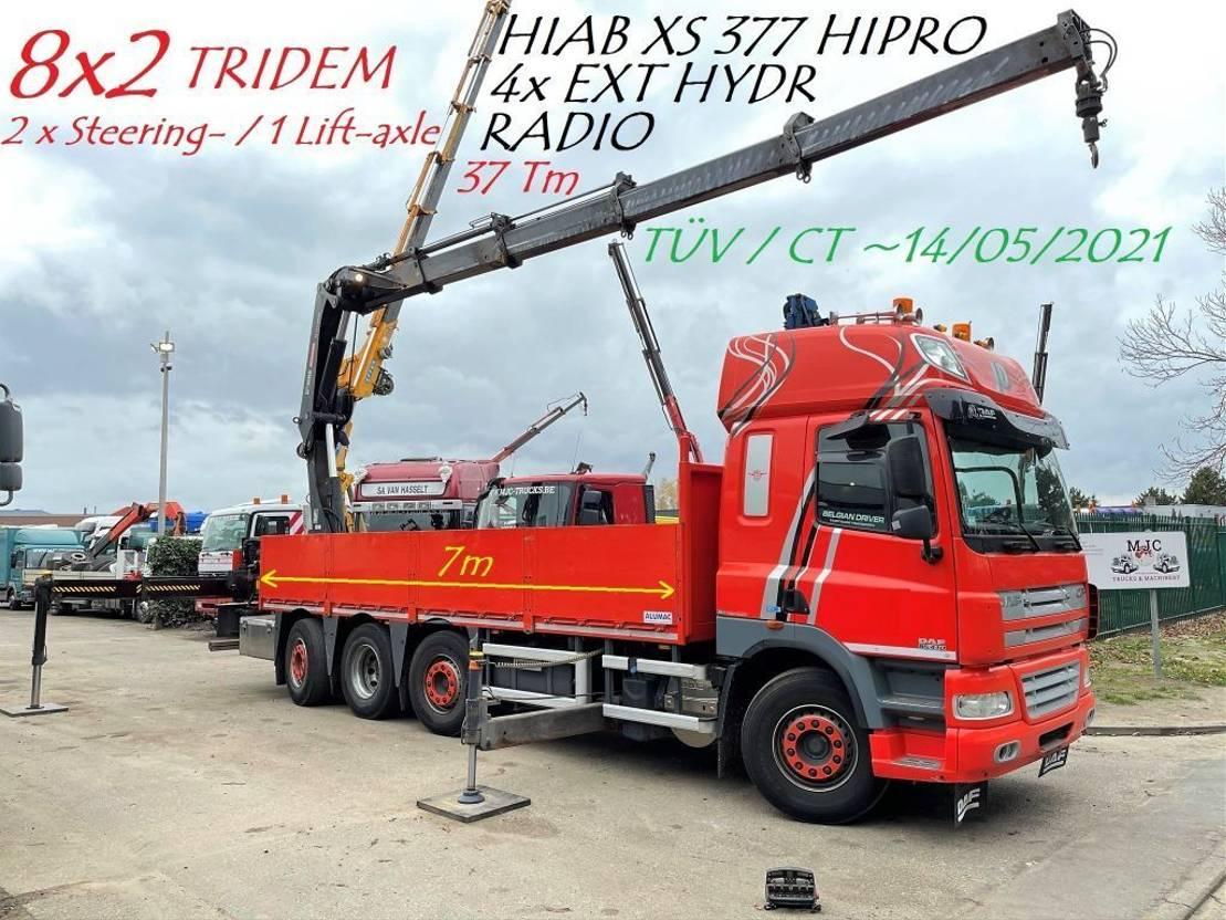 kraanwagen DAF CF 85.410 - 8x2 TRIDEM + HIAB 377 EP-4 (Crane 37Tm) - RADIO - ROTATOR - PLATFORM 7m - LIFT + STEERING AXLES - AS TRONIC - EURO 5 - TUV 05/2021 2013