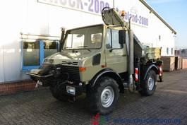 open laadbak bedrijfswagen Mercedes-Benz Unimog U 1400 mit Atlas Kran +HPC-Seilwinde AHK 1998