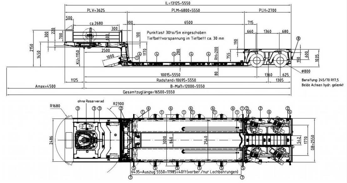 semi dieplader oplegger Meusburger 2-Achs-Tiefbett mit Pendelachsen