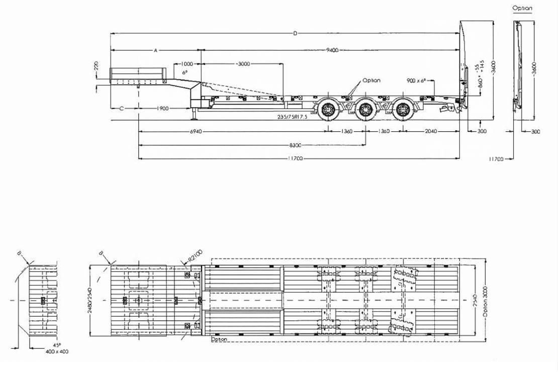 semi dieplader oplegger Faymonville 3-Achs-Semi mit hydraul. Ladebett und hydraul. Rampen