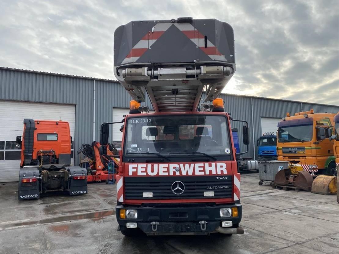 autohoogwerker vrachtwagen Mercedes-Benz 1524 4X2 FULL STEEL + ALBERT ZIEGLER DLK 23/12 LIFT 1998