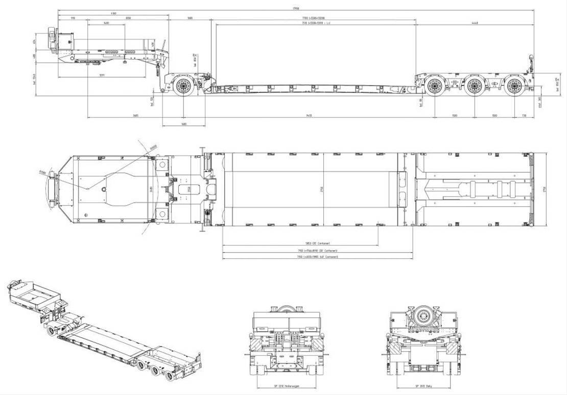 semi dieplader oplegger Doll 1+3-Achs-Tiefbett-Kombination mit Panther-Fahrwerk