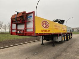 open laadbak oplegger Pacton steentrailer 4 asser + 11 ton kraan 2001