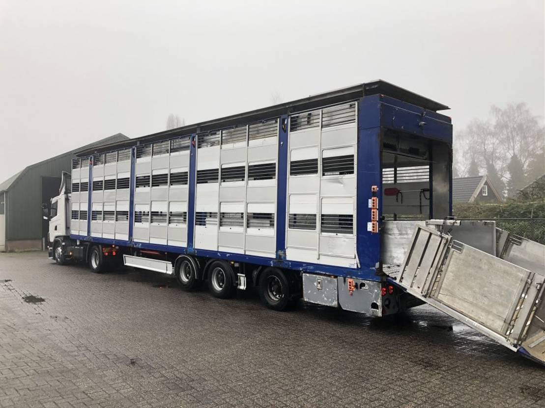 vee oplegger Menke Menk/Fliegl 3 stock veewagen hefdak 2010