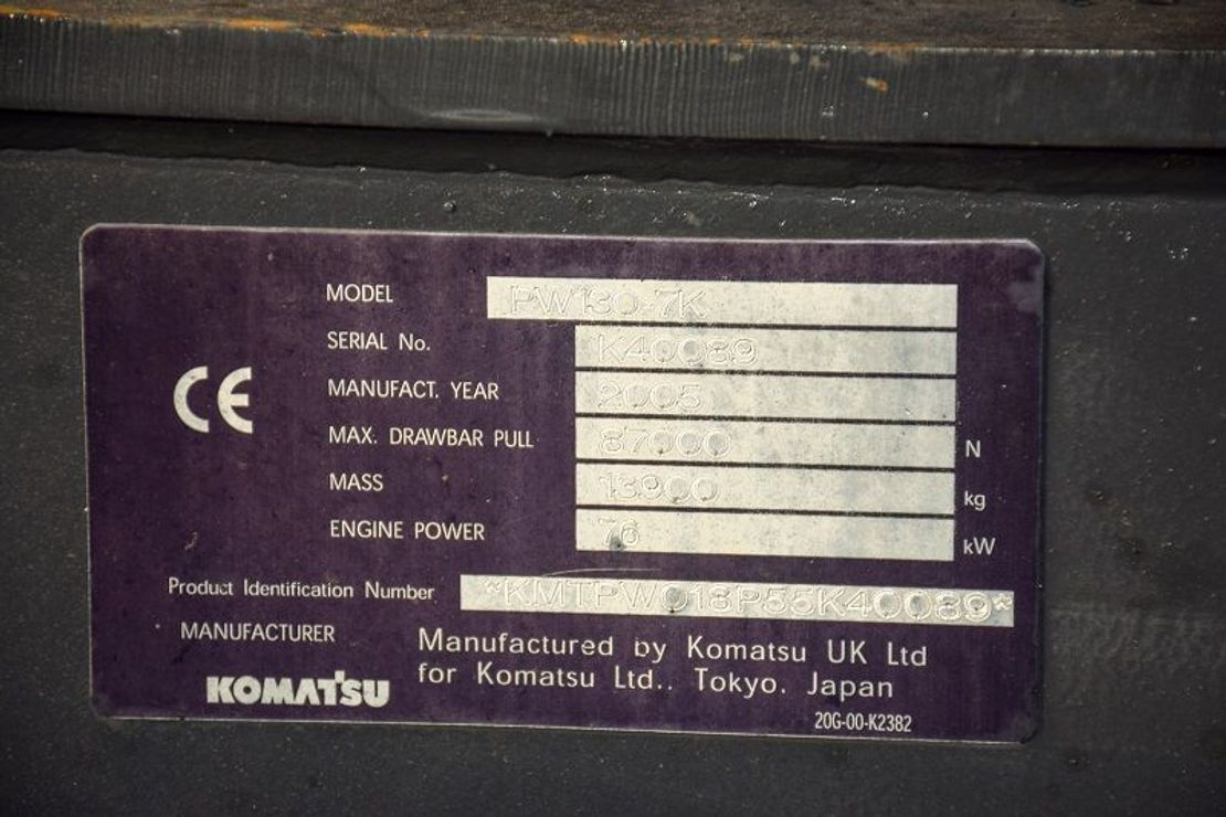 wielgraafmachine Komatsu PW130-7K 2005