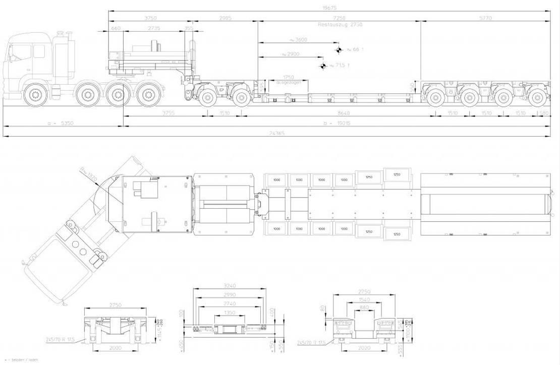 semi dieplader oplegger Goldhofer 2+4-Achs-Tiefbett-Kombination Typ VP6 (245) A (2+4) BB 2021