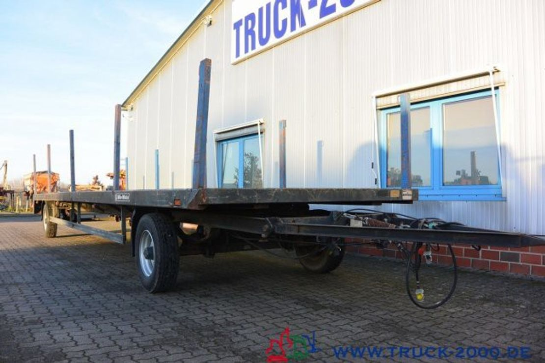 platte aanhanger vrachtwagen Müller-Mitteltal TP Steckrungen SAF Achsen 10m lang NL: 6.550 kg 2001