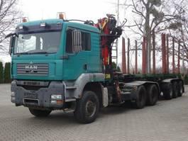houttransporter vrachtwagen MAN TGA 33.440 6X6 BL Holzkran Epsilon + Anhänger