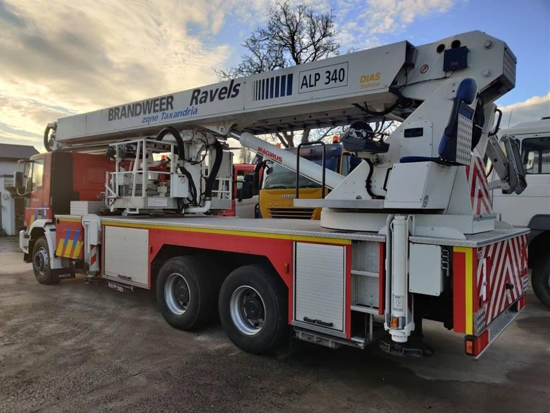 autohoogwerker vrachtwagen Iveco 260E34 Eurofire 6x4 Elevator 34m Magirus - Feuerwehr / fire dep / Pompiers 1998