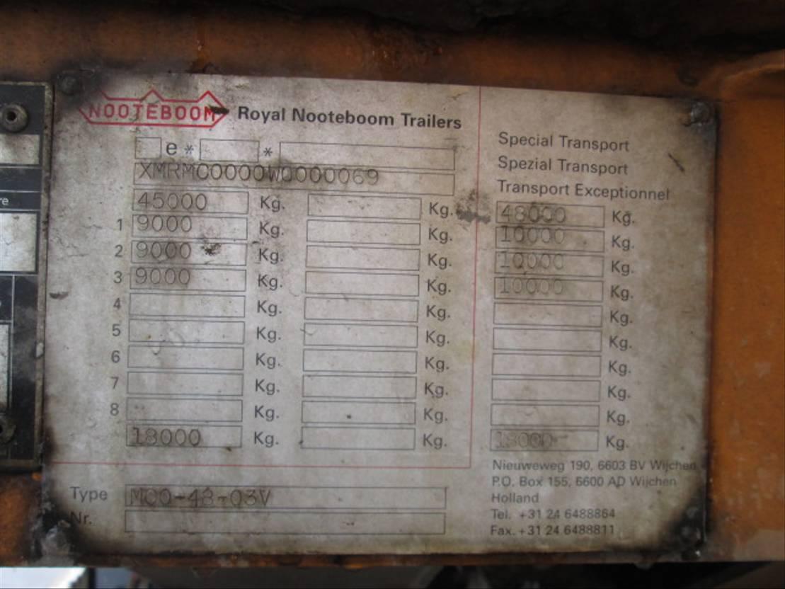semi dieplader oplegger Nooteboom 48 03V 1998