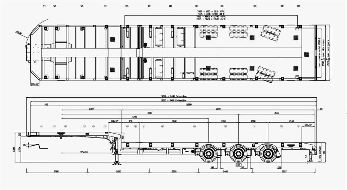semi dieplader oplegger Broshuis 3-axle selftracking semi low laoder single extendible
