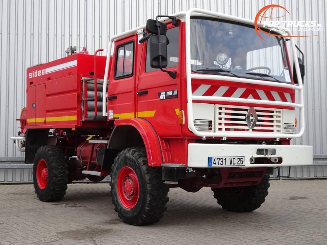 brandweerwagen vrachtwagen Renault M180 Midliner 4x4 Doppelcabine - 4.400 ltr watertank - Feuerwehr, Fire b... 1997