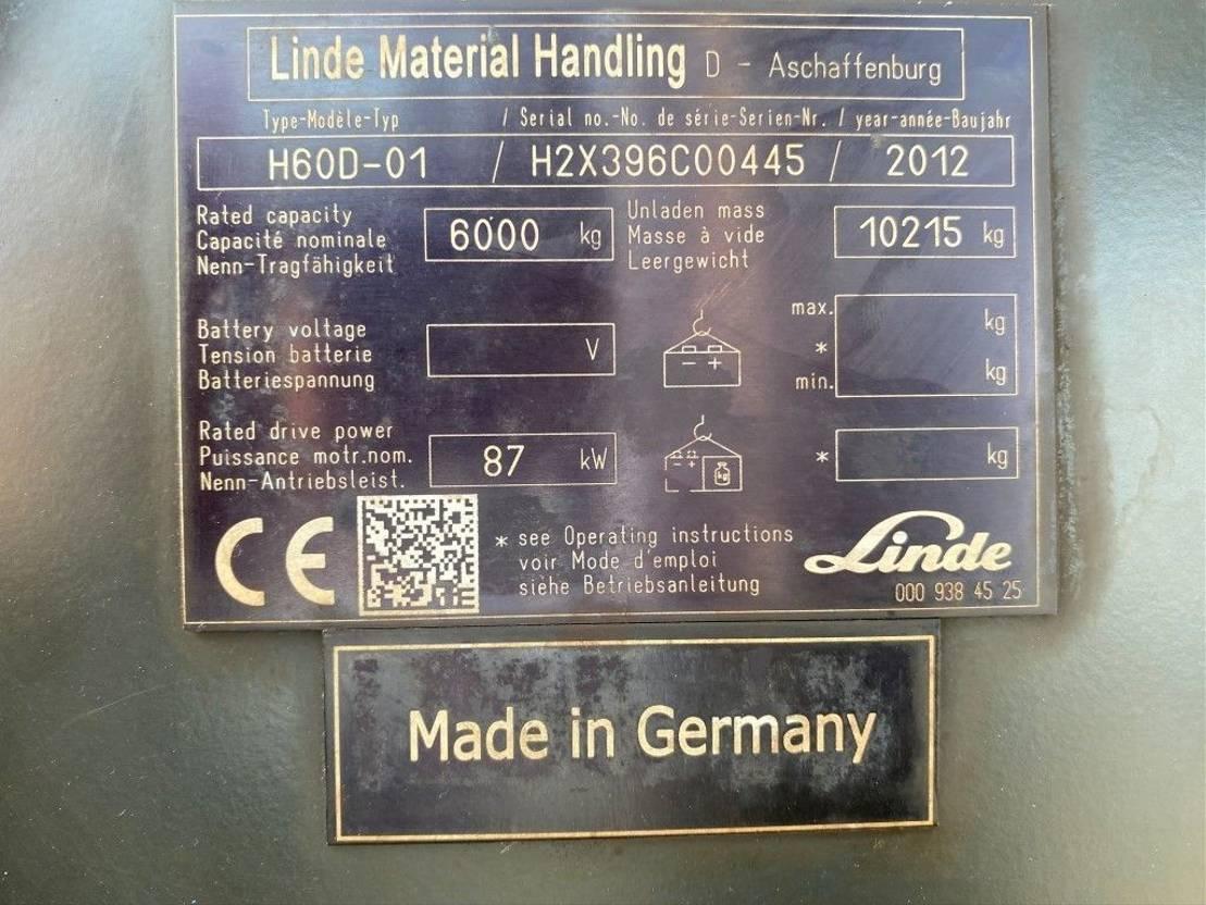 vorkheftruck Linde H60D-01 6 ton Duplo Diesel Heftruck 2012