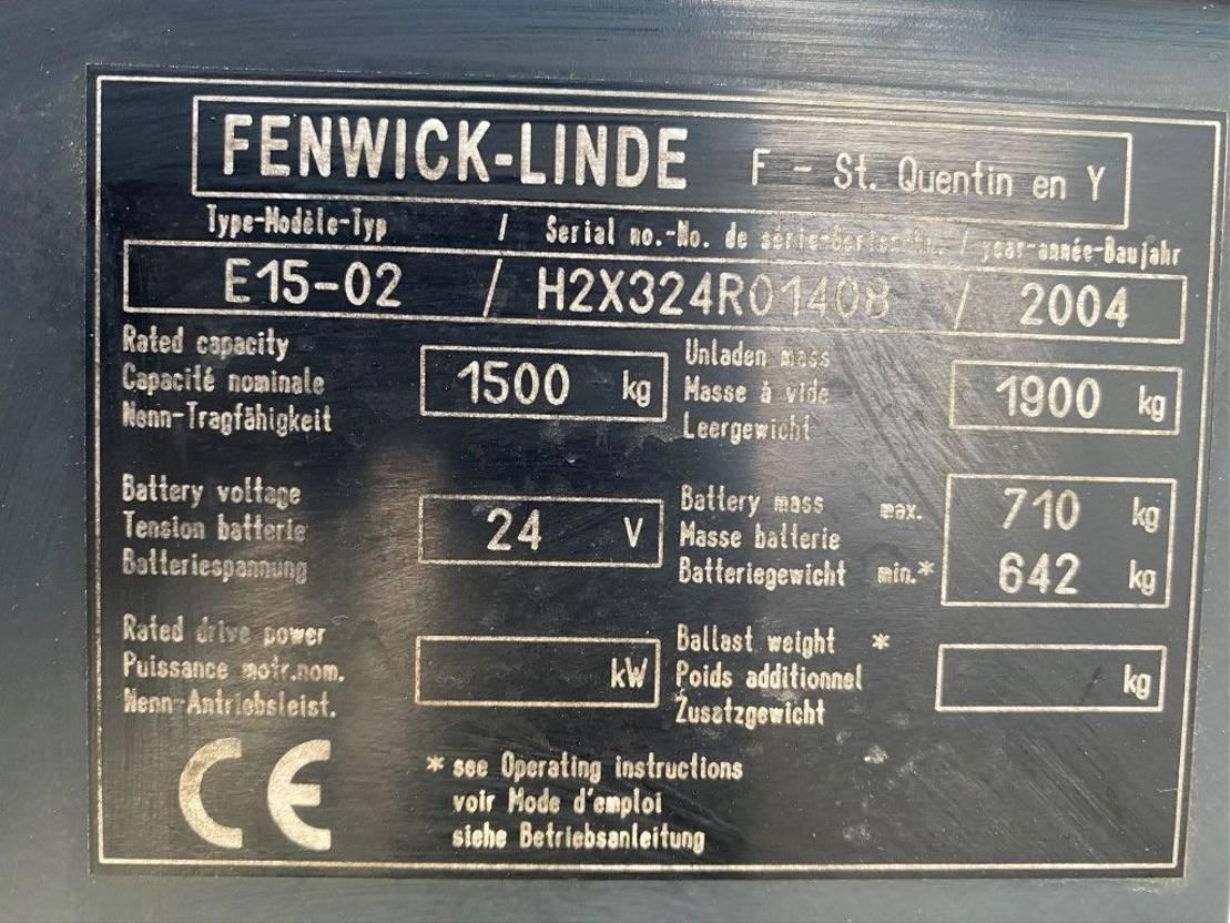 vorkheftruck Linde E15-02 Duplo Sideshift Elektra Heftruck accu 2017 ! 2004