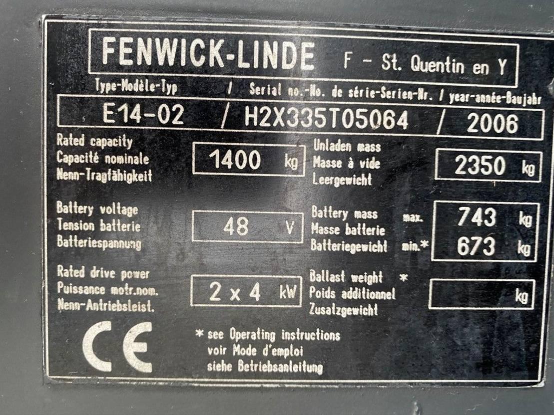 vorkheftruck Linde Fenwick E14-02 1.4 ton Triplex Freelift Sideshift Elektra Heftruck 2006