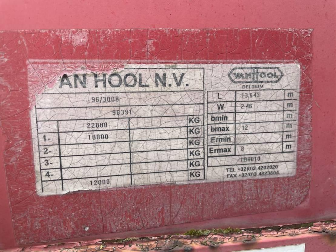 semi dieplader oplegger Van Hool 1 assige Schuifzijlen semi dieplader