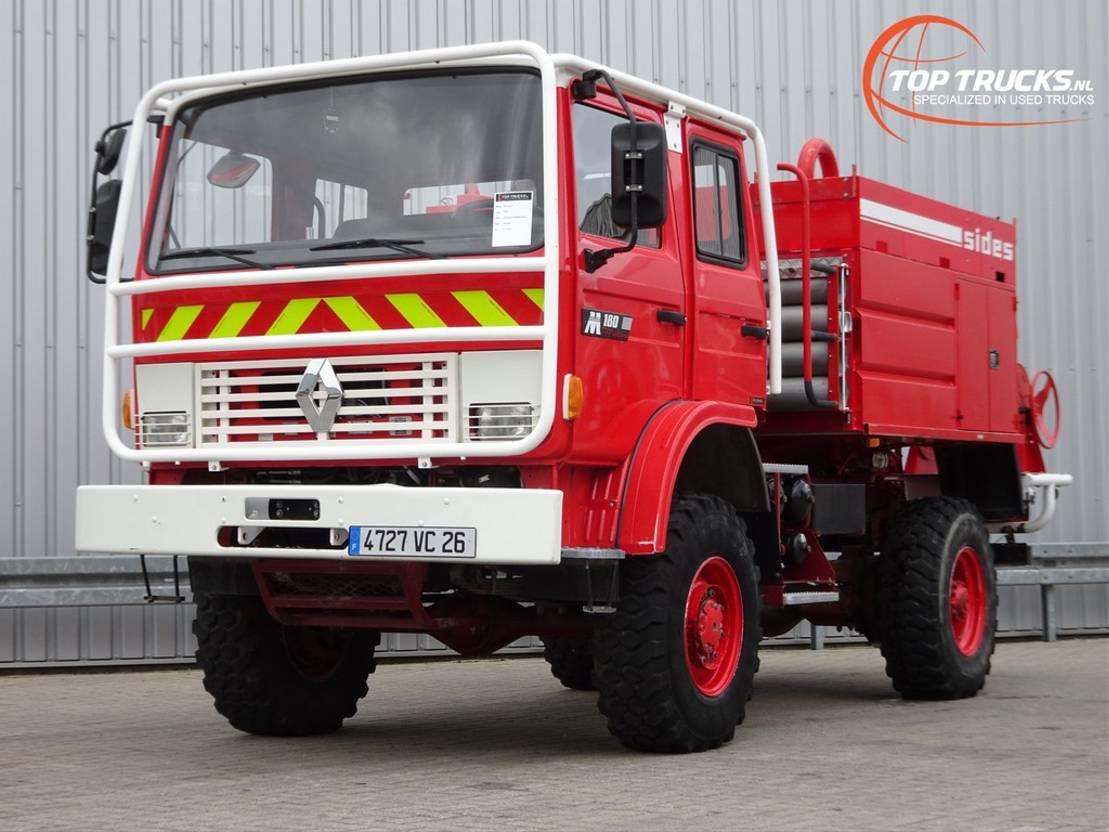 brandweerwagen vrachtwagen Renault M180 Midliner 4x4 Doppelcabine - 3.600 ltr watertank - Feuerwehr, Fire b... 1997