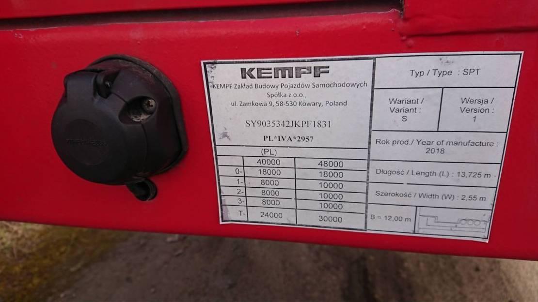semi dieplader oplegger Kempf SPT 2018