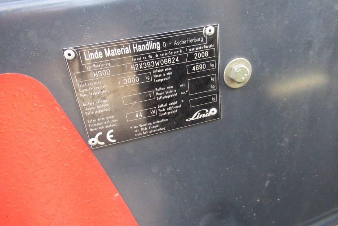 vorkheftruck Linde H30D / Side-Shift / Triple mast 2008