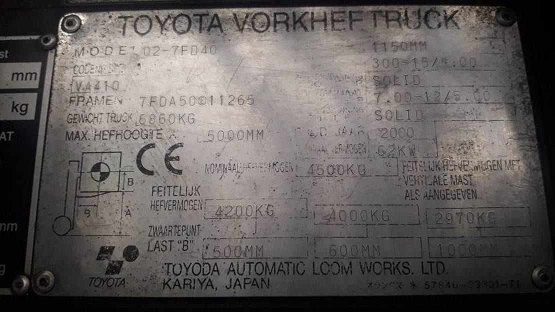 vorkheftruck Toyota 02-7 FD 40 2000