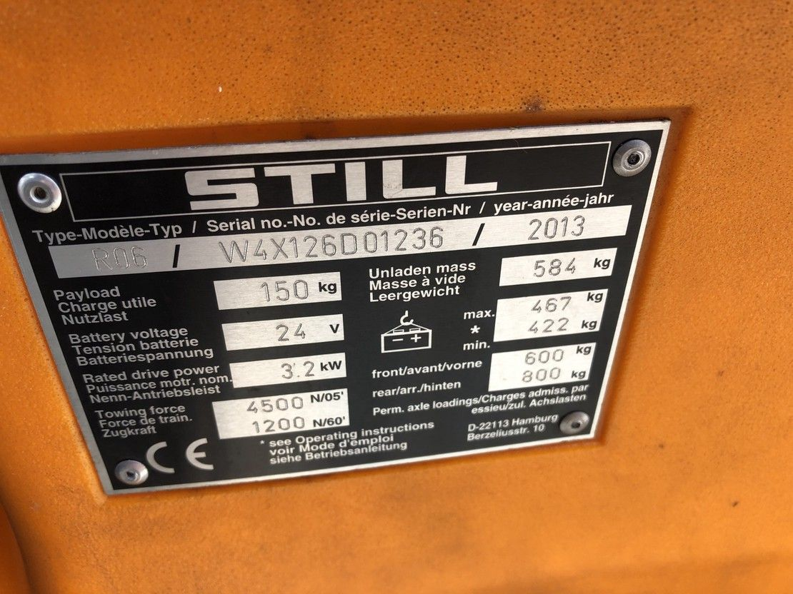 elektrische trekker Still R06 Elektro Trekker Hydrolische Functie 2013