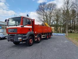 open laadbak vrachtwagen MAN TGA 35 8x4 full steel + effer crane 210-3S very clean