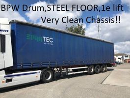 schuifzeil oplegger Groenewegen DRO-12-27 , Liftaxle , steel floor , very clean chassis ,BPW Drumbrakes 2002